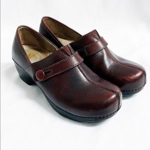 Dansko maroon leather slip on clogs